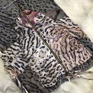 Alberto Makali Jackets & Coats - Alberto Makali Leopard & Rose Print Hooded Vest S